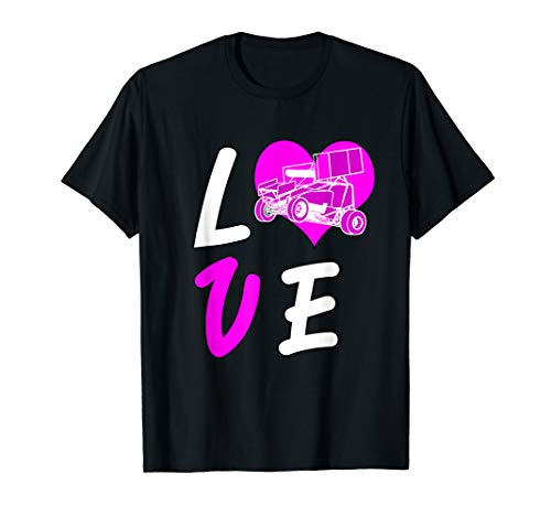 Love Sprint Car Tshirt Racing Women Dirt Track Pink White