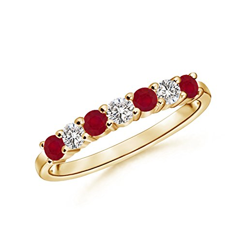 Stone Ruby and Diamond Wedding Band in 14K Yellow Gold (2.5mm Ruby) (Ruby Diamond Wedding Band)