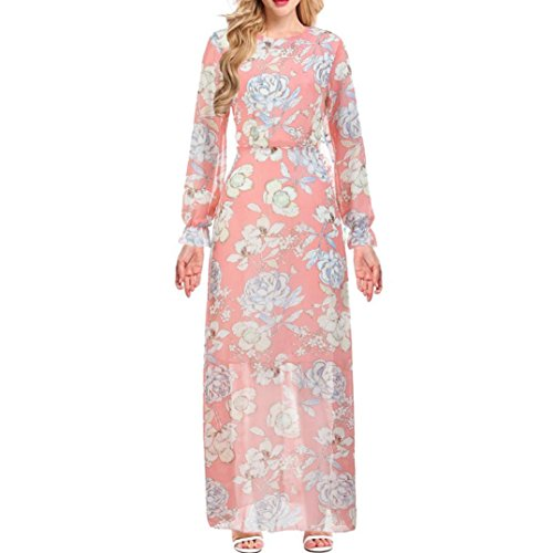 Price comparison product image Women Long Dress Daoroka Sexy Floral Maxi Casual Loose Floral Boho Evening Party Cocktail Casual Beach Skirt Sundress (L,  Pink)