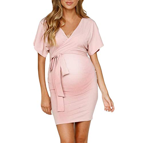 DONTAL Womens Sexy V-Neck Pregnant Hollow Out Short Sleeve Solid Maternity Dress ()