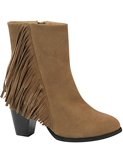 Womens Vertical Fringe Stacked Heel Round Toe Ankle Dress Boots in Black, Brown, Camel Camel
