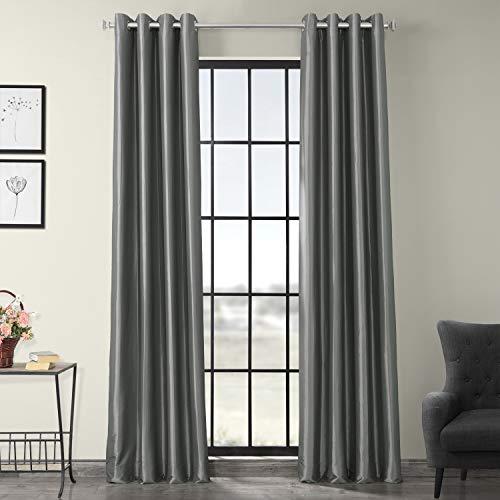Half Price Drapes PTCH-BO112-96-GR Grommet Blackout Faux Silk Taffeta Curtain, - Panel Platinum Curtain