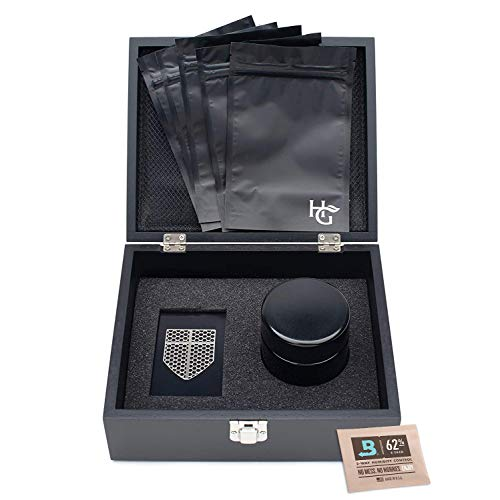 Herb Guard Large Smell Proof Stash Box Combo with Built In Smell Absorbing Lining – Comes with Smell Proof Jar and Humidity Pack, Grinder Card and 5 Smell Proof Travel Bags