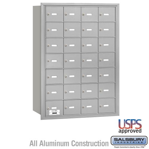 Salsbury Industries 3628ARU 4B Plus Horizontal Mailbox, 28 A Doors, Rear Loading, USPS Access, Aluminum