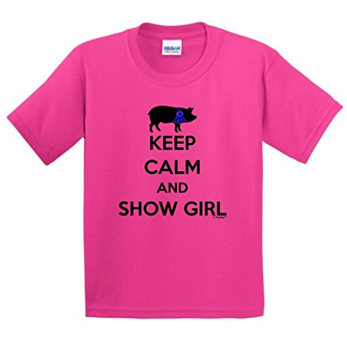 Price comparison product image ThisWear Keep Calm and Show Girl, Farmer Blue Ribbon Pig Youth T-Shirt Large Hlcna