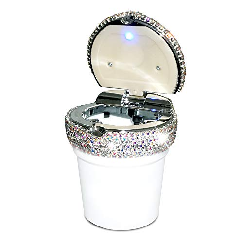 eing Car Cigarette Ashtray with Blue LED Light Indicator Portable Bling Smokeless Cylinder Cup Holder for Most Vehicles,White