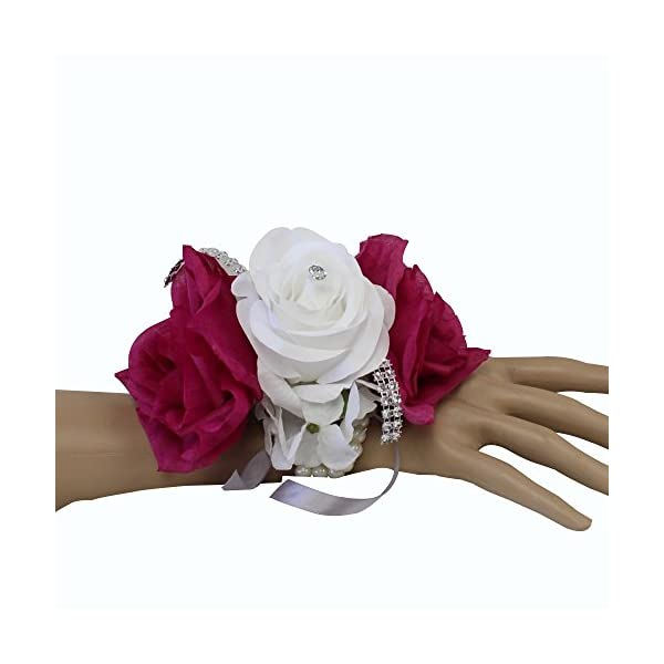 Angel Isabella Wrist Corsage-keepsake artificial roses hydrangea large wrist flower flower prom dance graduation events (Fuchsia White)