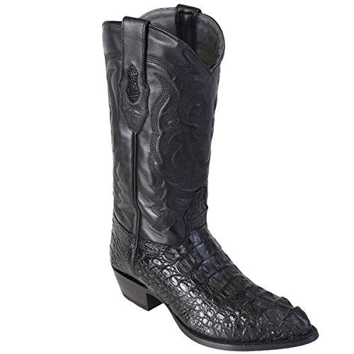 Hornback Caiman Cowboy Boots - Original Black Caiman (Gator) Hornback LeatherJ-Toe Boot