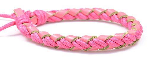 Fashion Jewelry Handmade Genuine Pink leather Hemp adjustable bracelet - women L019