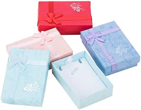 [해외]PandaHall 믹스 12 개 세트 화려한 나비 고급 사각형 보석 상자 목걸이 케이스 종이 박스 다용도 케이스 선물 상자 70x50x20mm / PandaHall Mix 12pcs Colorful Bow Knot Luxury Rectangular Jewelry Box Necklace Case Paper Box Heavy Use Case Gi...