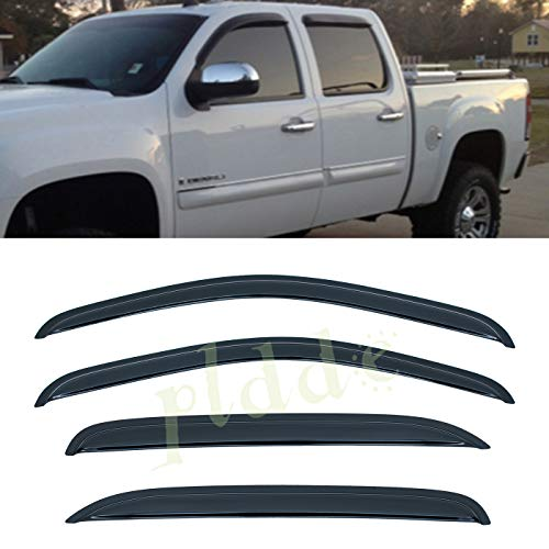 PLDDE 4 pcs For 07-14 Chevy/GMC Avalanche Suburban Yukon XL Silverado Sierra 1500 2500 3500 HD Crew Cab Front+Rear Sun/Rain Guard Outside Mount Window Visors