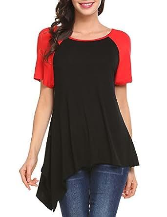 Mofavor Women's Short Sleeve Crew Neck T-Shirt Jersey Tops Black S