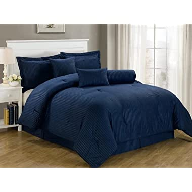 Chezmoi Collection 7-Piece Hotel Dobby Stripe Comforter Set, California King, Navy Blue