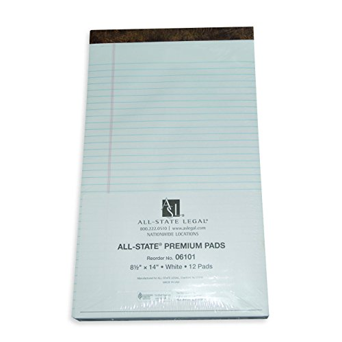 ALL-STATE LEGAL Premium Pad, Legal Size Legal Pads, 60 Point Double Thick Backer, Legal Ruled, White, 1 Dozen