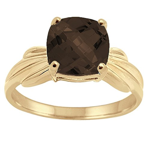 (Cushion Cut Smokey Quartz Ring in 10K Yellow Gold)