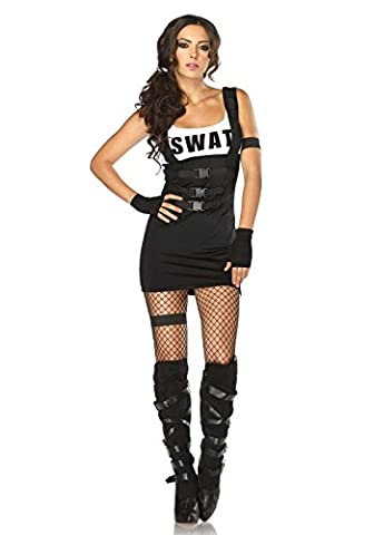 Leg Avenue Women's 4 Piece Sultry Swat Officer Costume, Black, X-Small