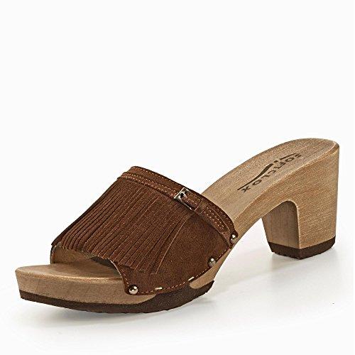 Softclox S3344-02 - Zuecos de Piel para mujer marrón