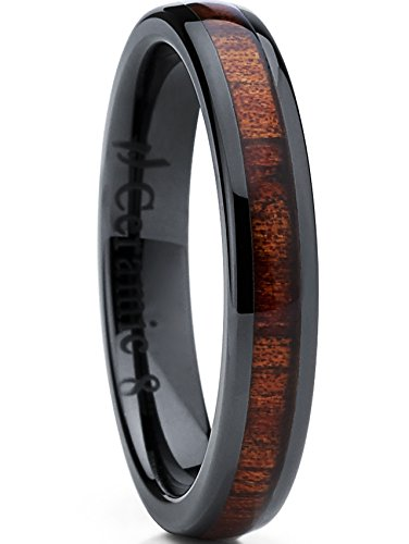 (Metal Masters Co. Womens Black Ceramic Dome Wedding Band Ring with Real Koa Wood Inlay 4mm, Comfort Fit SZ 7.5)