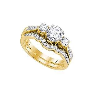 14kt Yellow Gold Womens Diamond 3-stone Bridal Wedding Engagement Ring Band Set 1.00 Cttw