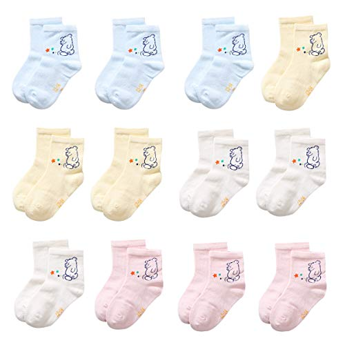 - CHINE HIGH Varity Of Baby Socks 12 Pairs Colorful Cartoon Lace Warm and Comfortable Cotton Kids Socks, Star Bear, 0-1 Years