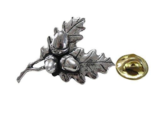 Kiola Designs Oak Tree Leaf with Acorns Lapel Pin (Oak Leaves Pin)
