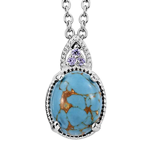 Shop LC Delivering Joy Blue Turquoise Purple 925 Sterling Silver Pendant with Stainless Steel Magnetic Clasp Chain 20