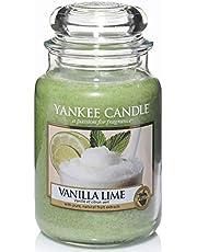 Yankee Candle Vanilla Lime stearinljus i stor burk, grön