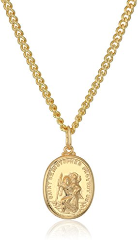 Mens 14k Gold Filled Rectangular Saint Christopher Medal with Gold Plated Stainless Steel Chain Pendant Necklace, 20