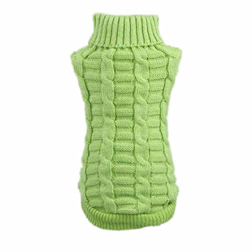 Howstar Puppy Sweater, Warm Doggie Clothes Cute Knitted Classic Pet Dog Shirt Apparel (L, Green)