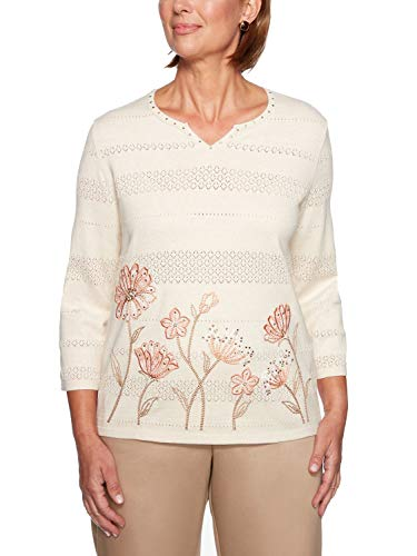 Alfred Dunner Women's Good to Go Border Floral Sweater - Plus Size, Tan, 2X