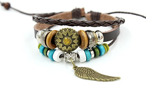 [Victoria Echo Handmade Sunflower Charms Angel Wings Pendant Multi Stands Braided Leather Wrap] (Home Made Angel Costumes Kids)