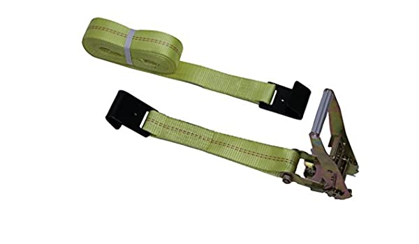 Laclede Chain RSFH2X27LWP Ratchet Strap Flat Hook 2 x 27 Long Wide Handle 3,335 Lb Working Load Limit 10//Carton Yellow