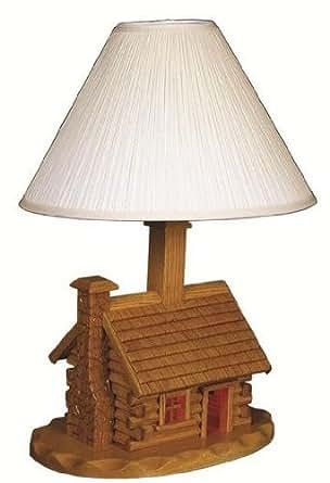 amish log cabin lamp with shade