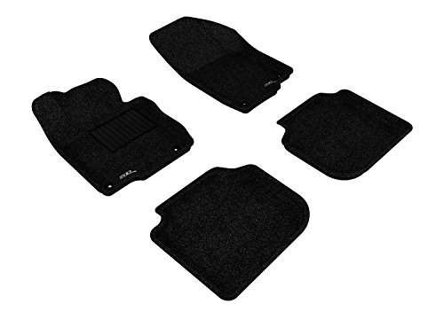 3D MAXpider Complete Set Custom Fit Floor Mat for Select Volkswagen Passat Models - Classic Carpet (Black)