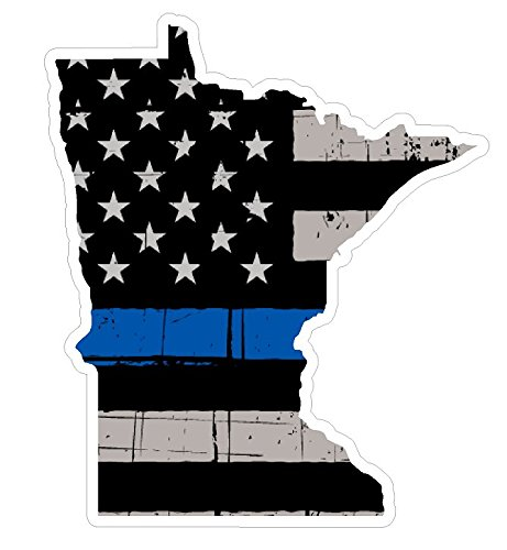 CustomDecal US Minnesota State (V24) Thin Blue Line Vinyl Decal Sticker Car/Truck Laptop/Netbook Window