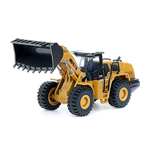 duturpo 1/50 Scale Diecast Four Wheel Loader Truck Toy, Metal Construction Equipment Bulldozer Models for Kids (Wheel Loader)