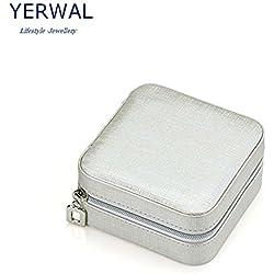 Yerwal Shop Jewelry Display Storage Box / Earring Ring Zipper Case / Bracelet Organizer (Silvery)