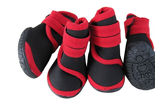 O&C Pet Boots Performance-Coned Premium Stretch Supportive Dog shoes, Water Proof TPR Dog Boots 3colors for Choice Set of 4 (Red Black, L(10.07.0cm))