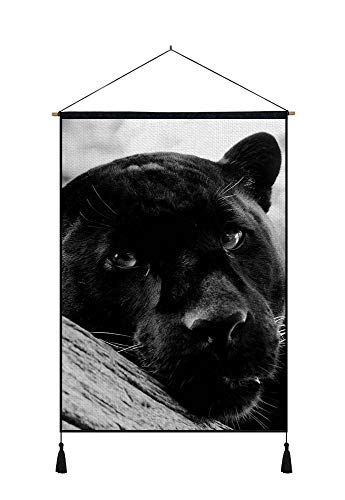 DZ.HAIKA Black Panther (N14) - Animal Picture Art Print Cotton Linen Home Wall Decor Hanging Posters(18x26inch Black and White)