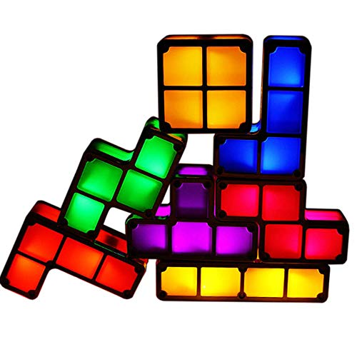 DIY 7 PCS Tetris Night Light 3D Puzzles Toy 7 Colors Magic Blocks Induction Interlocking LED Novelty Desk Lamp Lighting DIY for Kids Teens and Adults Home Deco Great Child Gift