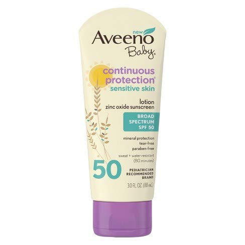 Aveeno Baby Natural Protection Lotion Sunscreen With Broad Spectrum SPF 50, 3 Oz, (Pack of 3)