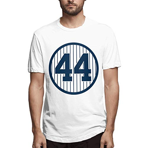 Men's Reggie-Jackson-Retired-Number #44 Short Sleeve Classic Comfort Soft Crewneck T-Shirt White (Reggie Jackson Numbers)