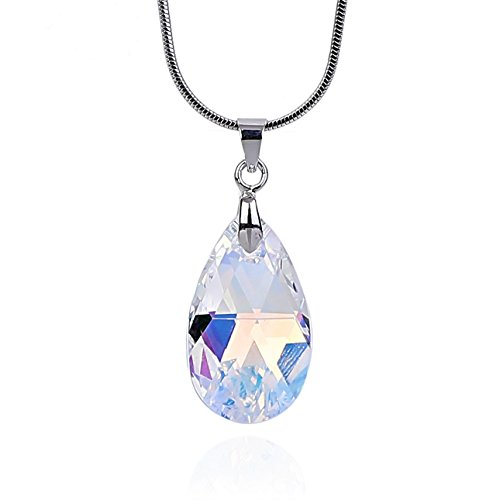 NickAngelo's Crystal Teardrop Pendant Necklace for Women 18K White Gold Plated Made with Swarovski Elements Shiny Brilliant Nice Fit Excellent Quality Best Anniversary Love Gift Surprise (White)