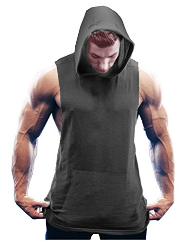 COOFANDY Men's Workout Hooded Tank Tops Bodybuilding Muscle T Shirt Sleeveless Gym Hoodies, Dark Grey, XX-Large (Sleeveless Tee Muscle)