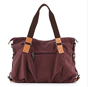 YSYT (TM) New Women's bag Canvas+Leather Shoulder Bag Messenger Bag School Bag women Totes bag Portable Ipad laptop bag #313 --Purple from E-Trade Deal