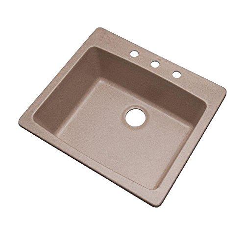 Mont Blanc Northbrook Drop-in Composite Granite 25x22x9 3-Hole Single Bowl Kitchen Sink in Desert Sand