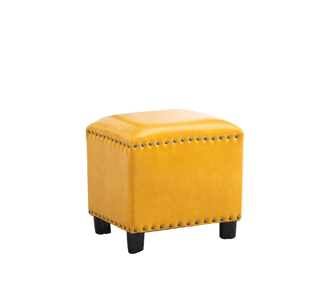 C American Cube Stool Wooden Stool Home Change shoes Sofa Stool (color   C)