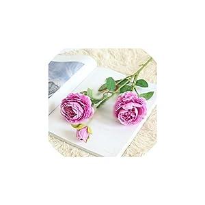 3 Heads/Bouquet Rose Decor Artificial Flower Home Decor Imitation Fake Flower for Garden Plant Desk Decor Hand Holding Flower,9 71