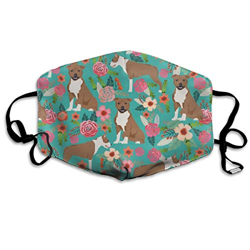 (Staffordshire Terrier Florals Dog Cute Dog Sweet Pet Pets Anti Dust Mask Anti Pollution Washable Reusable Mouth Masks)