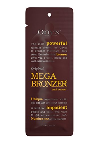 Onyx MEGA BRONZER Original Dual Bronzer Packet, Tanning Lotion with Caffeine and Copper